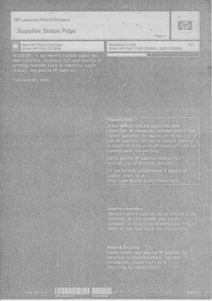 HP LJP4015 (CC364A). Негативное изображение.
